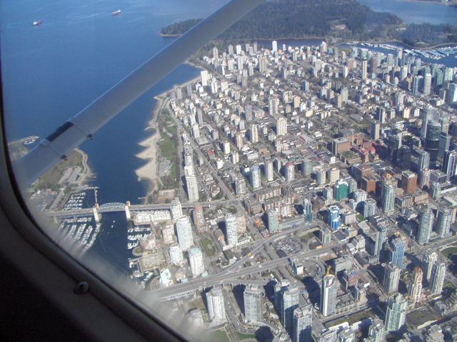 Vancouver from a small powered aircraft